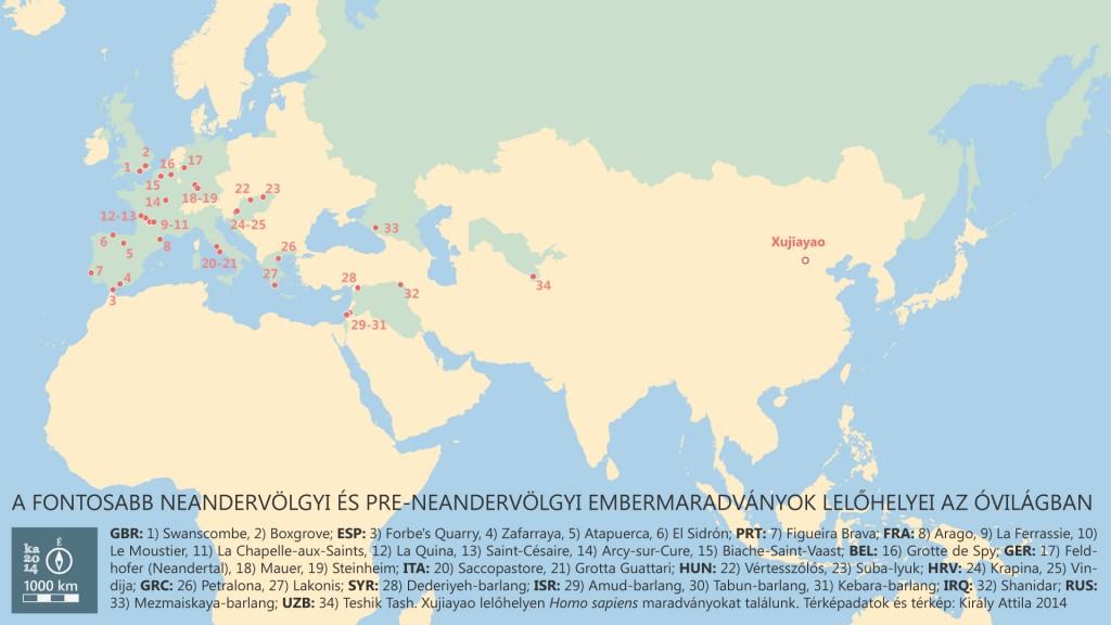neandervölgyiek elterjedési térképe
